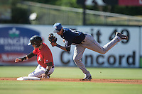Asheville Tourists shortstop Emerson Jimenez (14) holds on to the baseball after forcing out Eddy Alvarez (1) of the Kannapolis Intimidators at second base at Intimidators Stadium on June 28, 2015 in Kannapolis, North Carolina.  The Tourists defeated the Intimidators 6-4.  (Brian Westerholt/Four Seam Images)