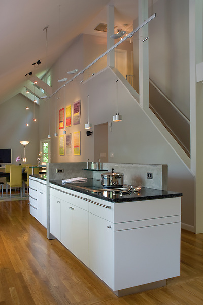A Contemporary design in a Richmond kitchen remodel that features a soaring ceiling, pendant lighting, and a dramatic view of the dining room.