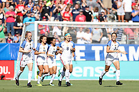 Cary, NC - Sunday October 22, 2017: U.S. players jog back to center after a goal during an International friendly match between the Women's National teams of the United States (USA) and South Korea (KOR) at Sahlen's Stadium at WakeMed Soccer Park. The U.S. won the game 6-0.