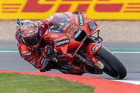 27th August 2021; Silverstone Circuit, Silverstone, Northamptonshire, England; MotoGP British Grand Prix, Practice Day; Ducati Lenovo Team rider Francesco Bagnaia on his Ducati Desmosedici GP21