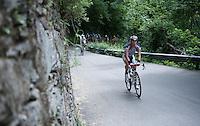 riders up the Passo Del Mortirolo (1854m) on stage 16: Pinzolo - Aprica (174km) of the 2015 Giro d'Italia