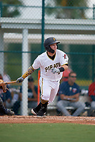 GCL Pirates Daniel Angulo (27) bats during a Gulf Coast League game against the GCL Twins on August 6, 2019 at Pirate City in Bradenton, Florida.  GCL Twins defeated the GCL Pirates 1-0 in the second game of a doubleheader.  (Mike Janes/Four Seam Images)