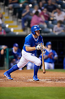 Oklahoma City Dodgers first baseman Max Muncy (13) runs to first base during a game against the Colorado Springs Sky Sox on June 2, 2017 at Chickasaw Bricktown Ballpark in Oklahoma City, Oklahoma.  Colorado Springs defeated Oklahoma City 1-0 in ten innings.  (Mike Janes/Four Seam Images)