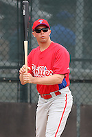 March 25, 2010:  Outfielder Kelly Dugan of the Philadelphia Phillies organization during a Spring Training game at the Carpenter Complex in Clearwater, FL.  Photo By Mike Janes/Four Seam Images