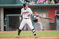 Lansing Lugnuts shortstop Bo Bichette (10) at the plate during the Midwest League baseball game against the Bowling Green Hot Rods on June 29, 2017 at Cooley Law School Stadium in Lansing, Michigan. Bowling Green defeated Lansing 11-9 in 10 innings. (Andrew Woolley/Four Seam Images)
