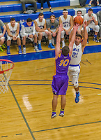 22 November 2015: Yeshiva University Maccabee Guard Judah Cohen, a Freshman from Englewood, NJ, takes a shot during the second half of play against the Hunter College Hawks at the Max Stern Athletic Center  in New York, NY. The Maccabees defeated the Hawks 81-71 in non-conference play, for their second win of the season. Mandatory Credit: Ed Wolfstein Photo *** RAW (NEF) Image File Available ***