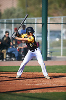 Dominic Johnson (11) of Edmond Santa Fe High School in Edmond, Oklahoma during the Baseball Factory All-America Pre-Season Tournament, powered by Under Armour, on January 13, 2018 at Sloan Park Complex in Mesa, Arizona.  (Zachary Lucy/Four Seam Images)