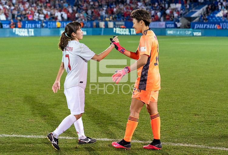 FRISCO, TX - MARCH 11: Emi Nakajima #7 and Ayaka Yamashita #18 of Japan high five during a game between Japan and USWNT at Toyota Stadium on March 11, 2020 in Frisco, Texas.