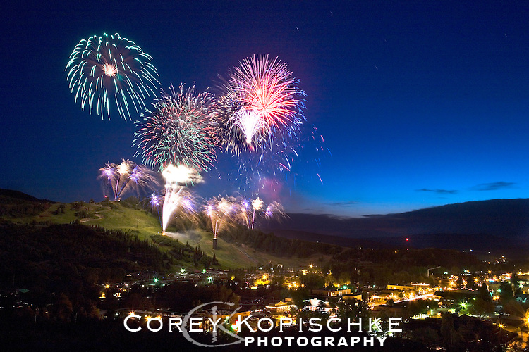 The annual 4th of July fireworks at Howelsen hill in historic Steamboat Springs, Colorado.