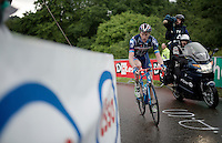 Frederik Backaert (BEL/Wanty-Groupe Gobert) up 'Le Petit Poggio' in the rain<br /> <br /> Belgian National Road Cycling Championships 2016<br /> Les Lacs de l'Eau d'Heure
