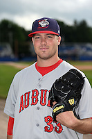 Auburn Doubledays pitcher Drew Van Orden (33) poses for a photo before a game against the Batavia Muckdogs on August 31, 2014 at Dwyer Stadium in Batavia, New York.  Batavia defeated Auburn 7-6.  (Mike Janes/Four Seam Images)