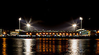 General view of the Stadium from across the Thames River during the Sky Bet Championship match between Fulham and Rotherham United at Craven Cottage, London, England on 29 December 2015. Photo by Andy Rowland / PRiME Media Images