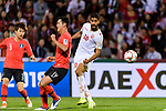 Abdulla Yusuf Helal of Bahrain (C) fights for the ball with Kim Younggwon of South Korea (L2) during the AFC Asian Cup UAE 2019 Round of 16 match between South Korea (KOR) and Bahrain (BHR) at Rashid Stadium on 22 January 2019 in Dubai, United Arab Emirates. Photo by Marcio Rodrigo Machado / Power Sport Images