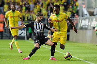19th September  2021; Angers, Pays de la Loire, France; French League 1 football Angers versus Nantes;  Charles TRAORE  of Nantes  challenged by Jimmy Cabot of Angers