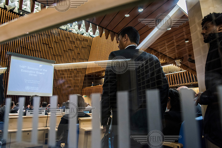 The opening session of the Executive Board Meeting of the World Health Organisation, the UN's health body, at the organisation's headquarters in Geneva. The annual event is taking place in the shadow of the Corona virus outbreak, which the WHO has declared as global health emergency.