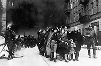 Jewish civilians.  Copy of German photograph taken during the destruction of the Warsaw Ghetto, Poland, 1943.   (WWII War Crimes Records)<br /> Exact Date Shot Unknown<br /> NARA FILE #:  238-NT-282<br /> WAR & CONFLICT BOOK #:  1280