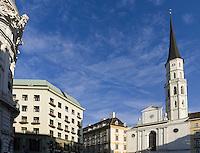 Raiffeisenbank im Looshaus  Michaeler Platz 3 und Michaeler Kirche= St. Michael, , Wien, Österreich, UNESCO-Weltkulturerbe<br /> Raiffeisenbank in the Loos-House, Michaeler Platz 3 and Michaeler Church, Vienna, Austria, world heritage