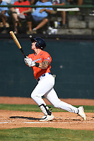 Nick Barnes (49) (Georgia Gwinnett) of the Kingsport Axemen during a game against the Bristol State Liners on June 13, 2021 at Boyce Cox Field in Bristol, Virginia. (Tracy Proffitt/Four Seam Images)
