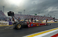Apr. 30, 2011; Baytown, TX, USA: NHRA top fuel dragster driver Scott Palmer during qualifying for the Spring Nationals at Royal Purple Raceway. Mandatory Credit: Mark J. Rebilas-