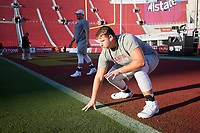 LOS ANGELES, CA - SEPTEMBER 11: Levi Rogers #57 of the Stanford Cardinal warms up before a game between University of Southern California and Stanford Football at Los Angeles Memorial Coliseum on September 11, 2021 in Los Angeles, California.