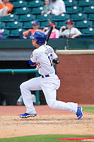 Corey Seager (12) of the Chattanooga Lookouts follows through on his swing against the Montgomery Biscuits at AT&T Field on July 23, 2014 in Chattanooga, Tennessee.  The Lookouts defeated the Biscuits 6-5. (Brian Westerholt/Four Seam Images)