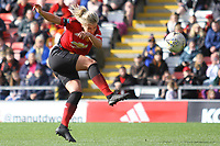 Kirsty Smith (Manchester United Women) scores during the English Womens Championship match between Manchester United Women and Leicester City Women at Leigh Sports Village, Leigh, England on 10 March 2019. Photo by James Gill / PRiME Media Images.