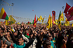 VAN, TURKEY: Turkish Kurds celebrates Newroz in Van, Turkey...Every year on March 21st, Kurds celebrate Newroz, the Kurdish new year. On March 21, 2013, Abudullah Ocalan, the imprisoned leader of the Kurdish separatist group, the PKK, called for his fighters to lay down their arms and retreat to northern Iraq...Photo by Refik Tekin/Metrography