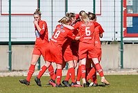 Woluwe's players celebrate after scoring a  goal during a female soccer game between FC Femina White Star Woluwe and KRC Genk on the 17 th matchday of the 2020 - 2021 season of Belgian Scooore Womens Super League , Saturday 20 th of March 2021  in Woluwe , Belgium . PHOTO SPORTPIX.BE | SPP | JILL DELSAUX