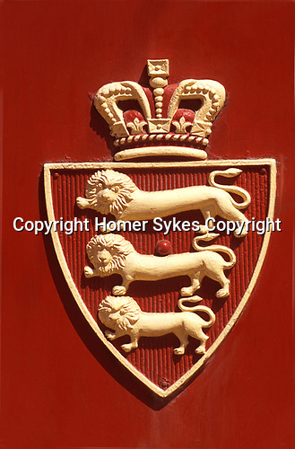 Jersey St Helier The Channel Islands UK 2000s  Lion Coat of arms at the historic Central fish market.