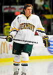 30 January 2010: University of Vermont Catamount forward Sebastian Stalberg, a Freshman from Gothenburg, Sweden, awaits the start of play prior to a game against the University of Maine Black Bears at Gutterson Fieldhouse in Burlington, Vermont. The Maine Black Bears and the Catamounts played to a 4-4 tie in the second game of their America East weekend series. Mandatory Credit: Ed Wolfstein Photo