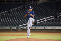AZL Padres relief pitcher Carlos Rivera (28) delivers a pitch to the plate against the AZL Indians on August 30, 2017 at Goodyear Ball Park in Goodyear, Arizona. AZL Padres defeated the AZL Indians 7-6. (Zachary Lucy/Four Seam Images)