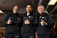 Manager Clive Salz, Felix Sturm (D), Trainer Fritz Sdunek