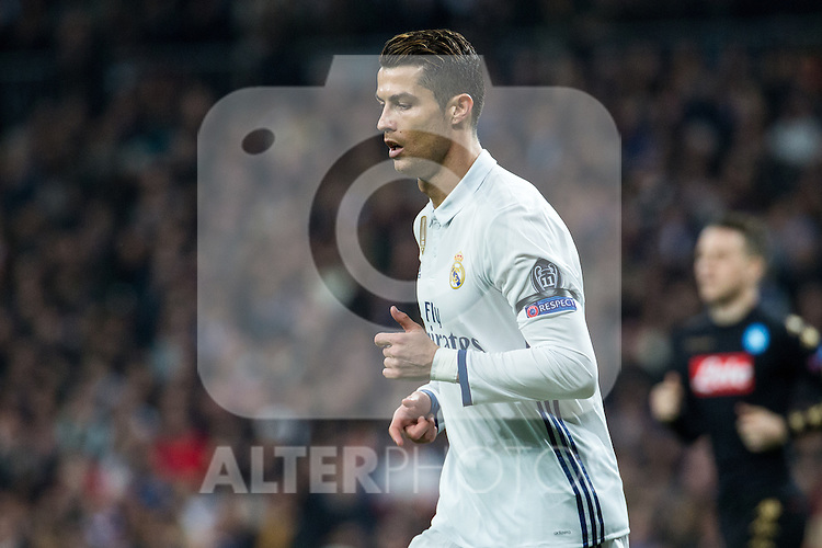 Cristiano Ronaldo of Real Madrid looks on during the match of Champions League between Real Madrid and SSC Napoli  at Santiago Bernabeu Stadium in Madrid, Spain. February 15, 2017. (ALTERPHOTOS)