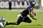 TCU Horned Frogs quarterback Trevone Boykin (2) in action during the game between the Kansas State Wildcats and the TCU Horned Frogs at the Amon G. Carter Stadium in Fort Worth, Texas. Kansas State defeats TCU 23 to 10....