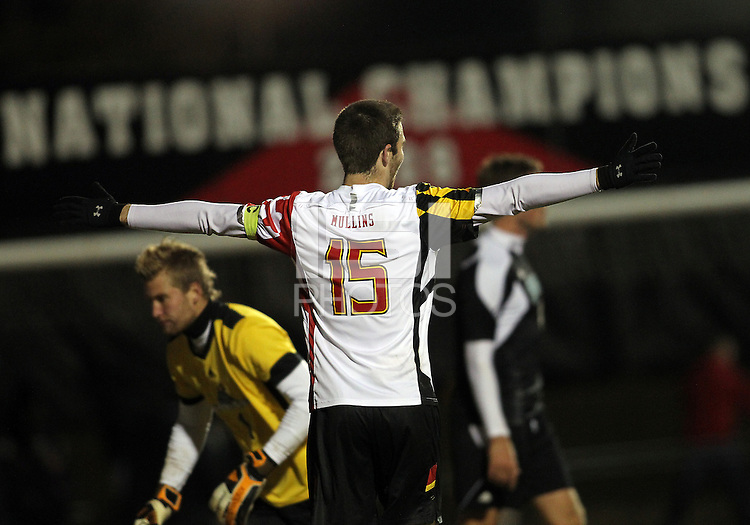 COLLEGE PARK, MD - NOVEMBER 25, 2012: Patrick Mullins (15) of the University of Maryland after the fifth goal against Coastal Carolina University during an NCAA championship third round match at Ludwig Field, in College Park, MD, on November 25. Maryland won 5-1.