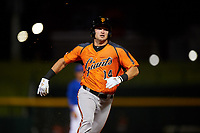 AZL Giants Orange Hunter Bishop (14) runs to third base during an Arizona League game against the AZL Cubs 1 on July 10, 2019 at Sloan Park in Mesa, Arizona. The AZL Giants Orange defeated the AZL Cubs 1 13-8. (Zachary Lucy/Four Seam Images)