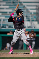 Lake Elsinore Storm catcher Luis Torrens (12) at bat during a California League game against the Modesto Nuts at John Thurman Field on May 13, 2018 in Modesto, California. Lake Elsinore defeated Modesto 4-3. (Zachary Lucy/Four Seam Images)