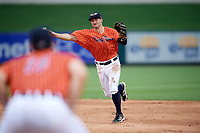 Lakeland Flying Tigers second baseman Will Maddox (3) throws to first base during the second game of a doubleheader against the St. Lucie Mets on June 10, 2017 at Joker Marchant Stadium in Lakeland, Florida.  Lakeland defeated St. Lucie 9-1.  (Mike Janes/Four Seam Images)