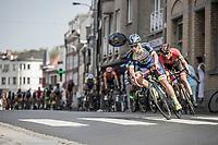 Tom Devriendt (BEL/Wanty-Groupe Gobert) cornering. <br /> <br /> <br /> GP Marcel Kint 2018 <br /> Kortrijk > Zwevegem 174.8km (BELGIUM)