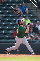 Jon Leroux (33) of the Savannah Sand Gnats follows through on his swing against the Hickory Crawdads at L.P. Frans Stadium on June 14, 2015 in Hickory, North Carolina.  The Crawdads defeated the Sand Gnats 8-1.  (Brian Westerholt/Four Seam Images)