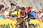 """Geraint Thomas (WAL) Team Ineos loses 30"""" to the race leader as he finishes 8th atop the Col du Tourmalet at the end of Stage 14 of the 2019 Tour de France running 117.5km from Tarbes to Tourmalet Bareges, France. 20th July 2019.<br /> Picture: Colin Flockton 