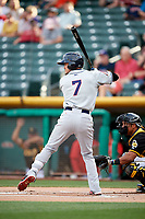 Jack Reinheimer (7) of the Reno Aces bats against the Salt Lake Bees in Pacific Coast League action at Smith's Ballpark on June 15, 2017 in Salt Lake City, Utah. The Aces defeated the Bees 13-5. (Stephen Smith/Four Seam Images)