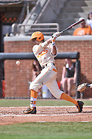 Tennessee Volunteers shortstop Max Bartlett (19) swings at a pitch during game one of a double header against the UC Irvine Anteaters at Lindsey Nelson Stadium on March 12, 2016 in Knoxville, Tennessee. The Volunteers defeated the Anteaters 14-4. (Tony Farlow/Four Seam Images)