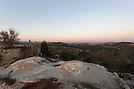 The Judean mountains, Israel. Sunset at the ruins of the Crusader fortress at Belmont or Mount Tzuba<br />