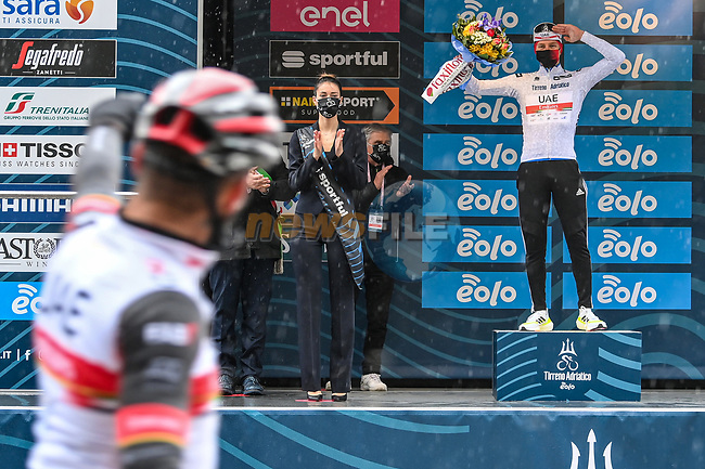 Race leader Tadej Pogacar (SLO) UAE Team Emirates also retains the young riders Maglia Bianca at the end of Stage 5 of Tirreno-Adriatico Eolo 2021, running 205km from Castellalto to Castelfidardo, Italy. 14th March 2021. <br /> Photo: LaPresse/Gian Mattia D'Alberto   Cyclefile<br /> <br /> All photos usage must carry mandatory copyright credit (© Cyclefile   LaPresse/Gian Mattia D'Alberto)
