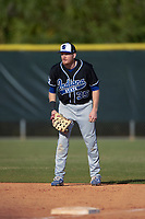 Indiana State Sycamores first baseman Jeff Zahn (35) during a game against the Boston College Eagles on February 27, 2016 at North Charlotte Regional Park in Port Charlotte, Florida.  Boston College defeated Indiana State 5-3.  (Mike Janes/Four Seam Images)