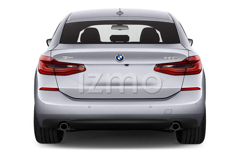 Straight rear view of a 2018 BMW 6 series gran turismo Sport 5 Door Hatchback stock images