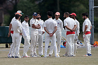 Frenford players huddle during Frenford CC vs Ilford CC (batting), Essex Cricket League Cricket at the Jack Carter Centre on 1st August 2020