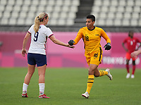KASHIMA, JAPAN - AUGUST 2: Adrianna Franch #18 of the United States runs on to the field to sub in during a game between Canada and USWNT at Kashima Soccer Stadium on August 2, 2021 in Kashima, Japan.