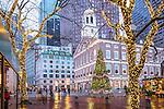 Christmas lights at Faneuil Hall Marketplace in Boston, Massachusetts, USA
